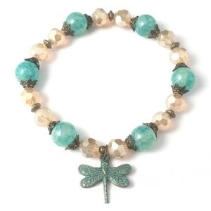 Jewelry - !!SALE 2/$30!! Turquoise Blue & Beige~Dragonfly
